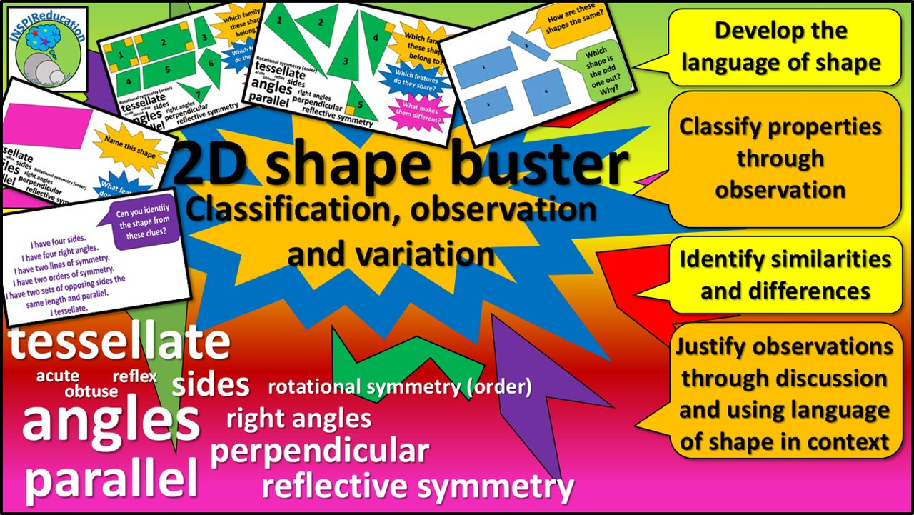 2D Shapes - Classification, variation, identification, descriptive vocabulary