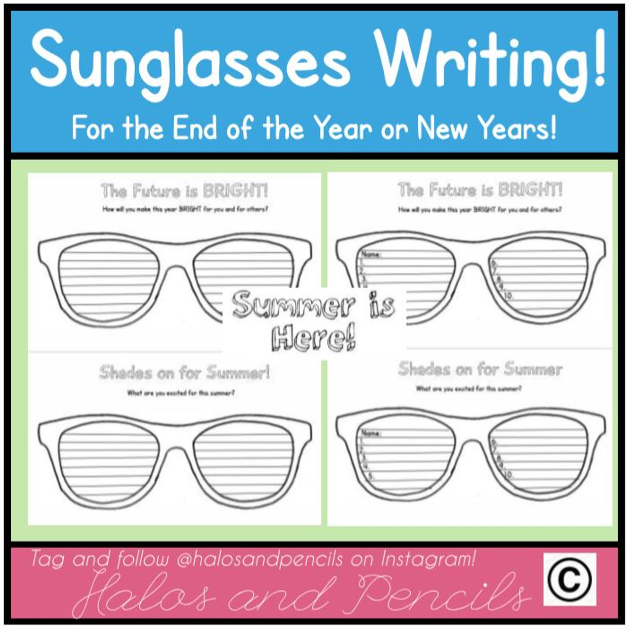 Celebrate Summer with this fun sunglasses writing craftivity! Multiple versions included.