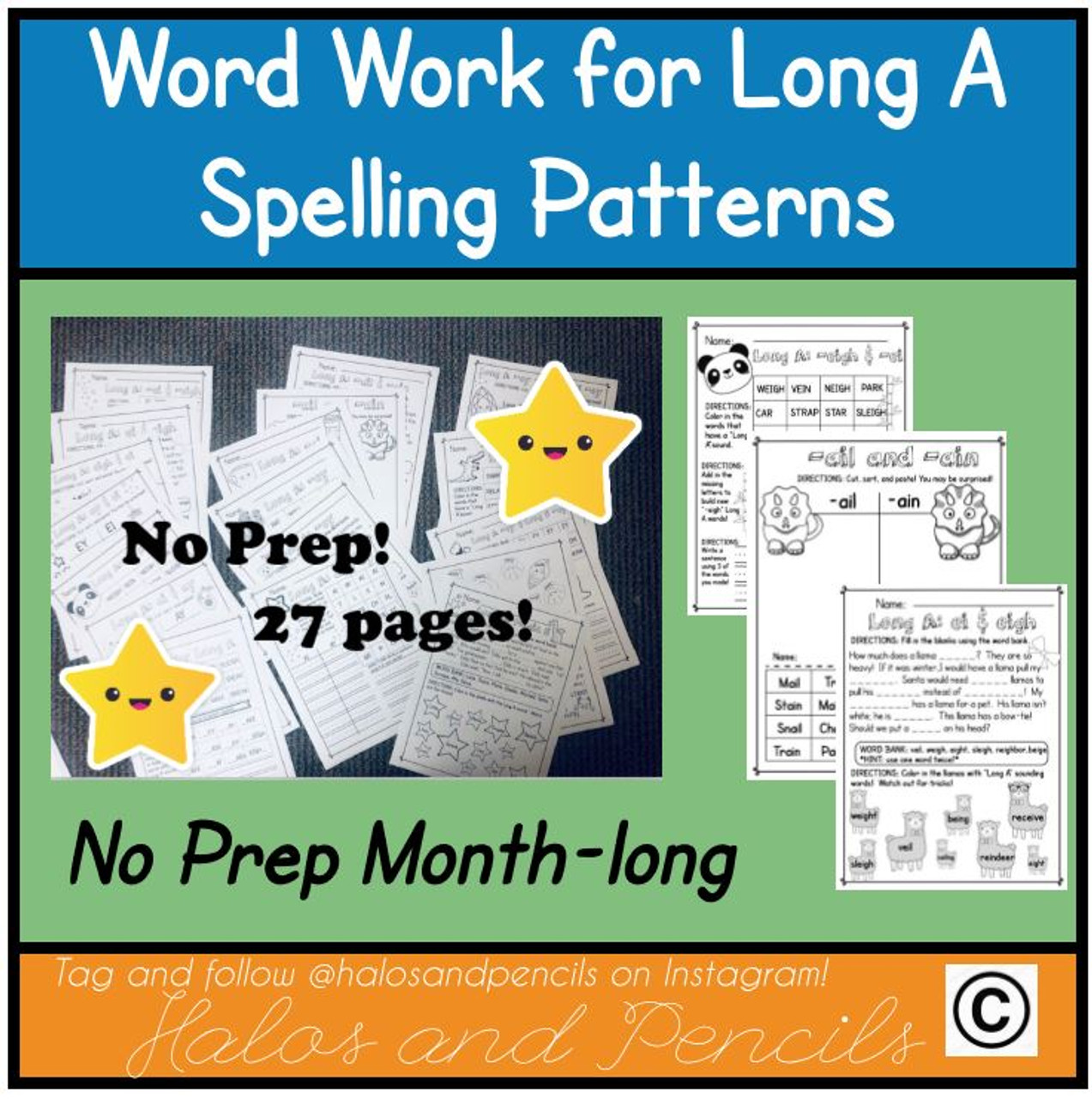 Month-long no-prep word work for Long A!