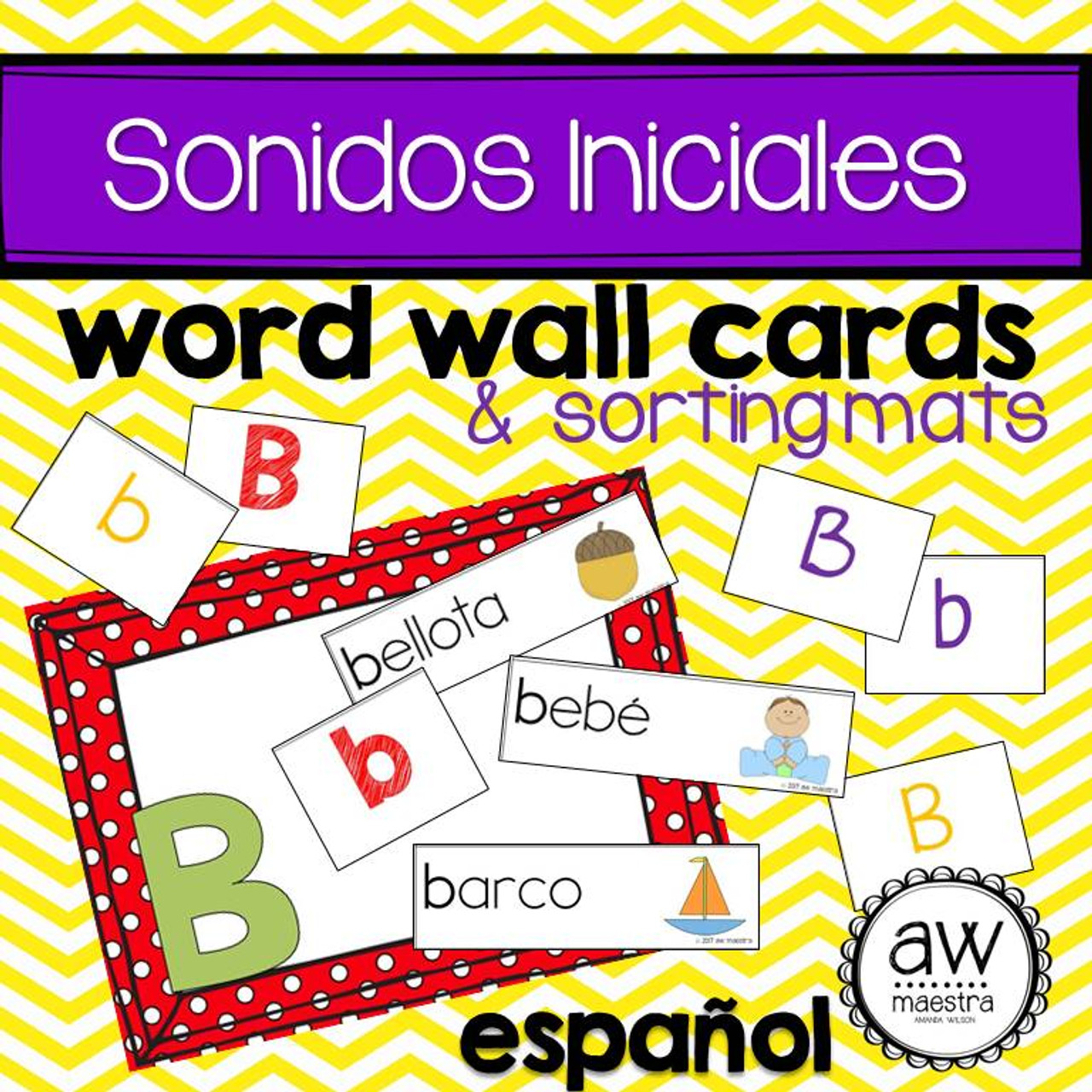 Sonidos iniciales Word Wall Cards