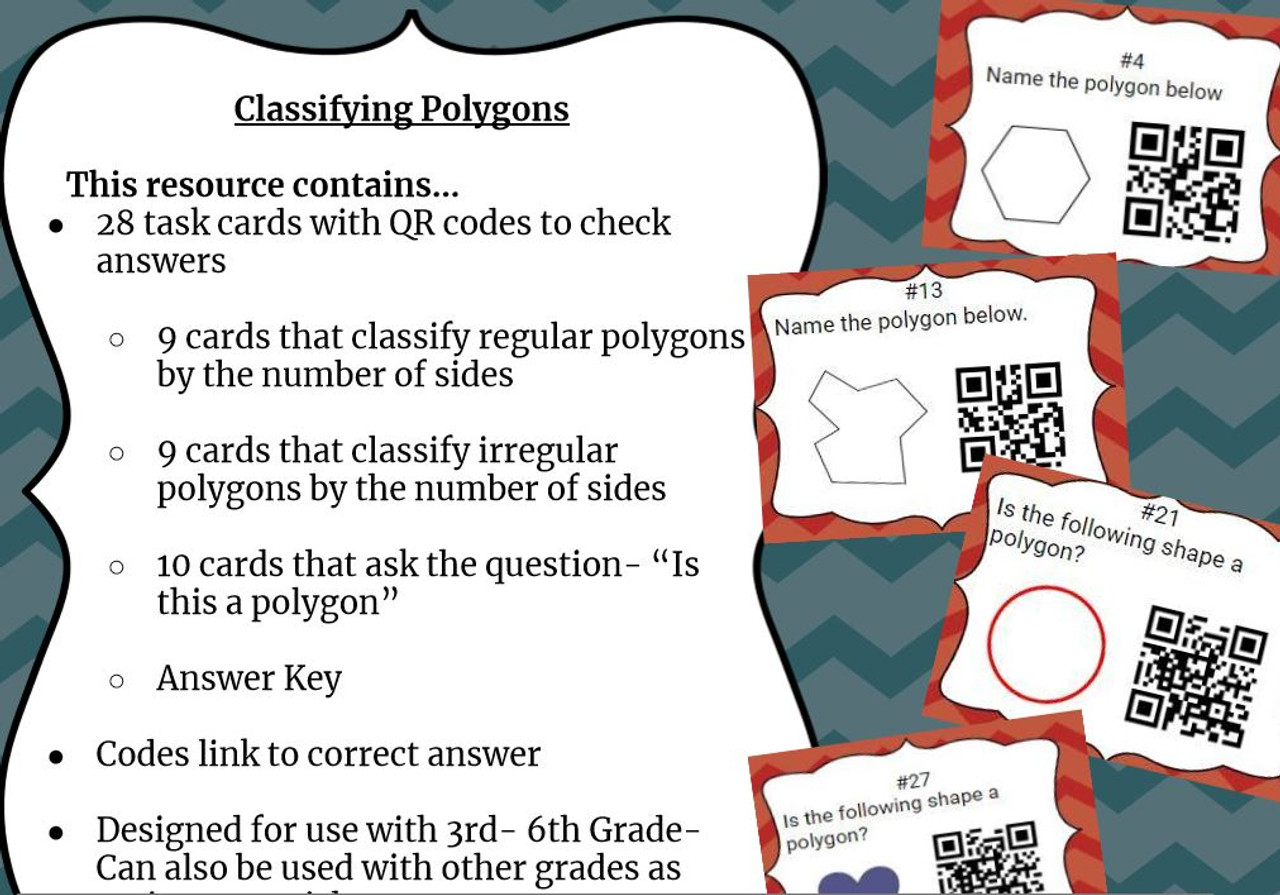 28 Task Cards with QR codes to sort and classify polygons based on number of sides