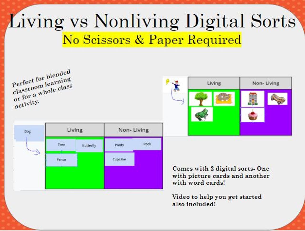 Digital Sort- Living vs Nonliving Card Sort - FREE