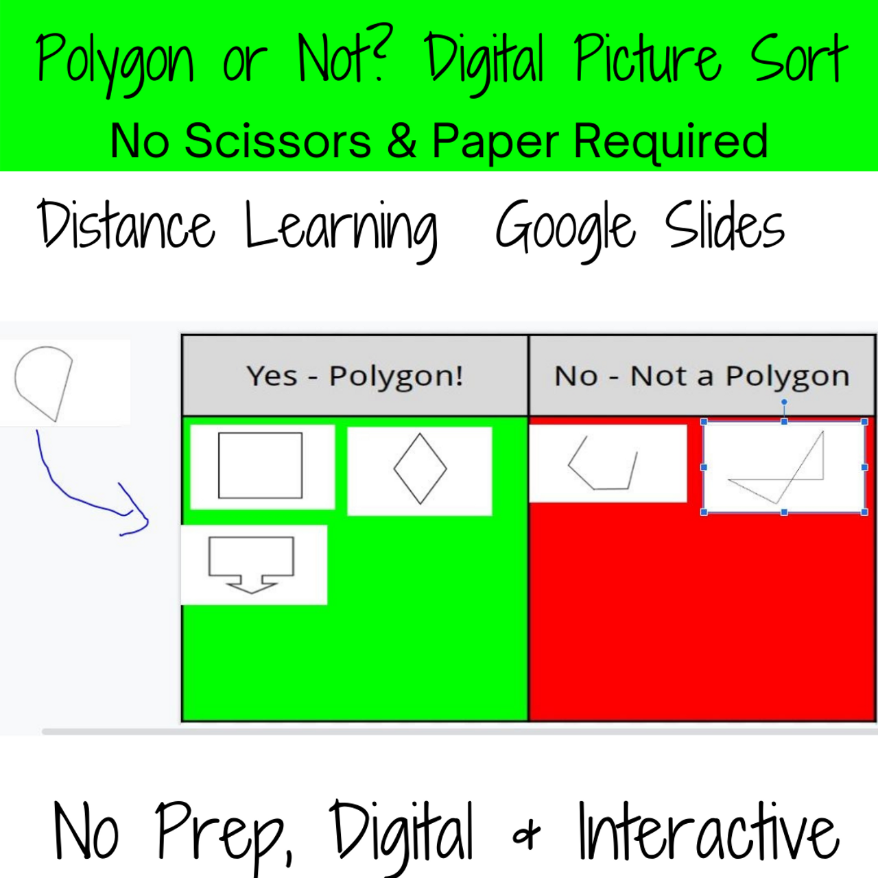 Digital Sort- Classify Shapes into Polygons & Non Polygons