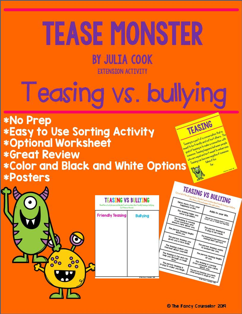 Tease Monster by Julia Cook Book Companion Sorting Activity and Worksheet
