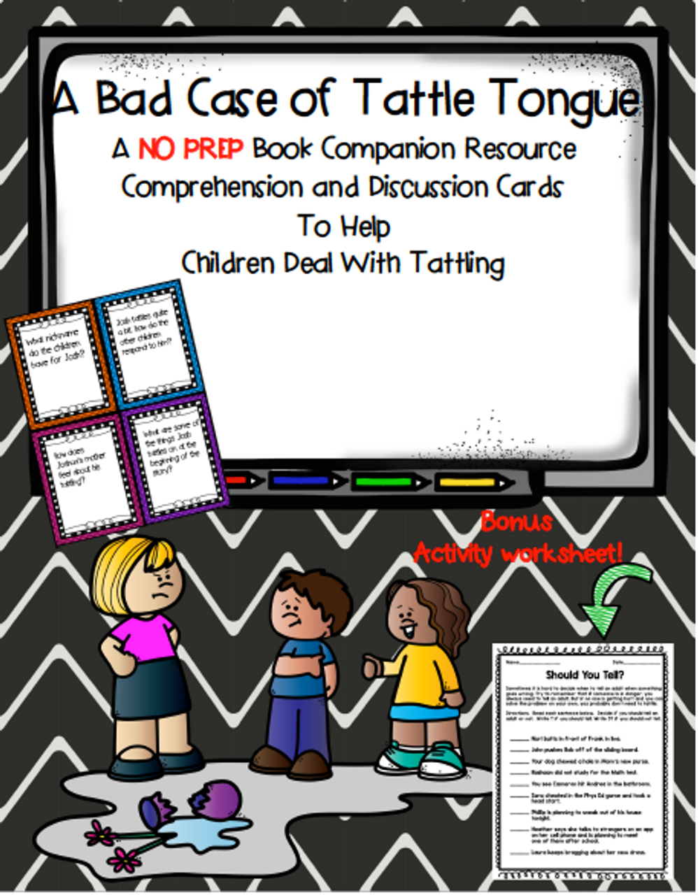 A Bad Case of Tattle Tongue by Julia Cook Story Extension Activity + Bonus