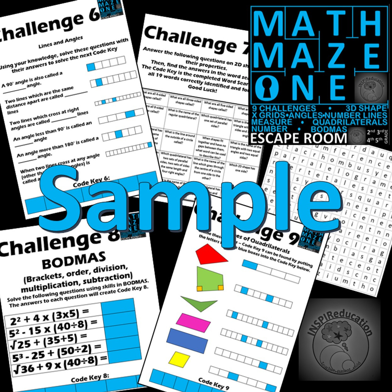 Math Escape Room - Math Maze One - Number and Shape: 9 Challenges