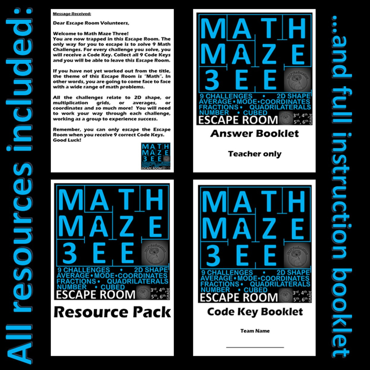 Math Escape Room - Math Maze Three - Number and Shape: 9 Challenges