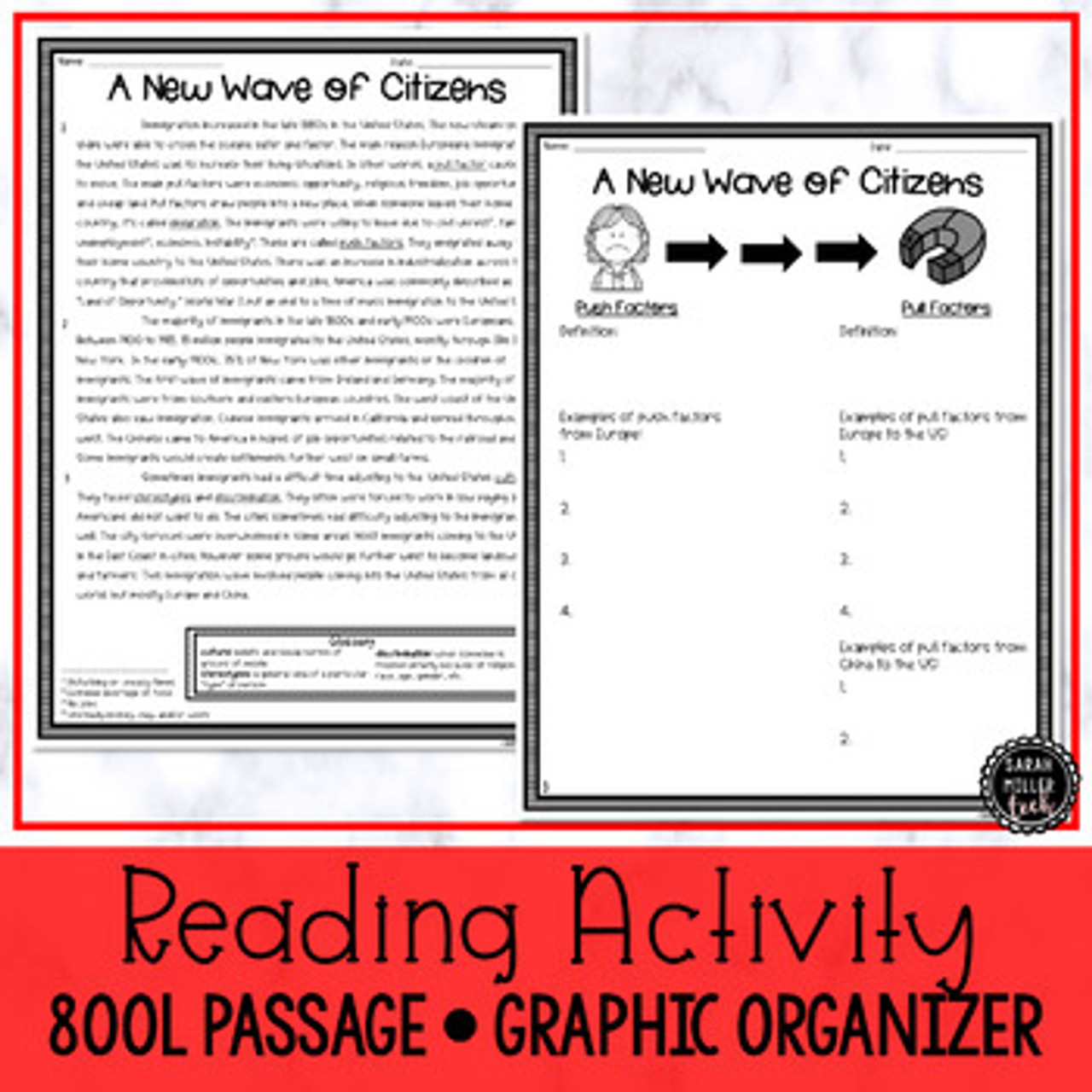 Immigration in the 1900s   Reading & Writing Activity