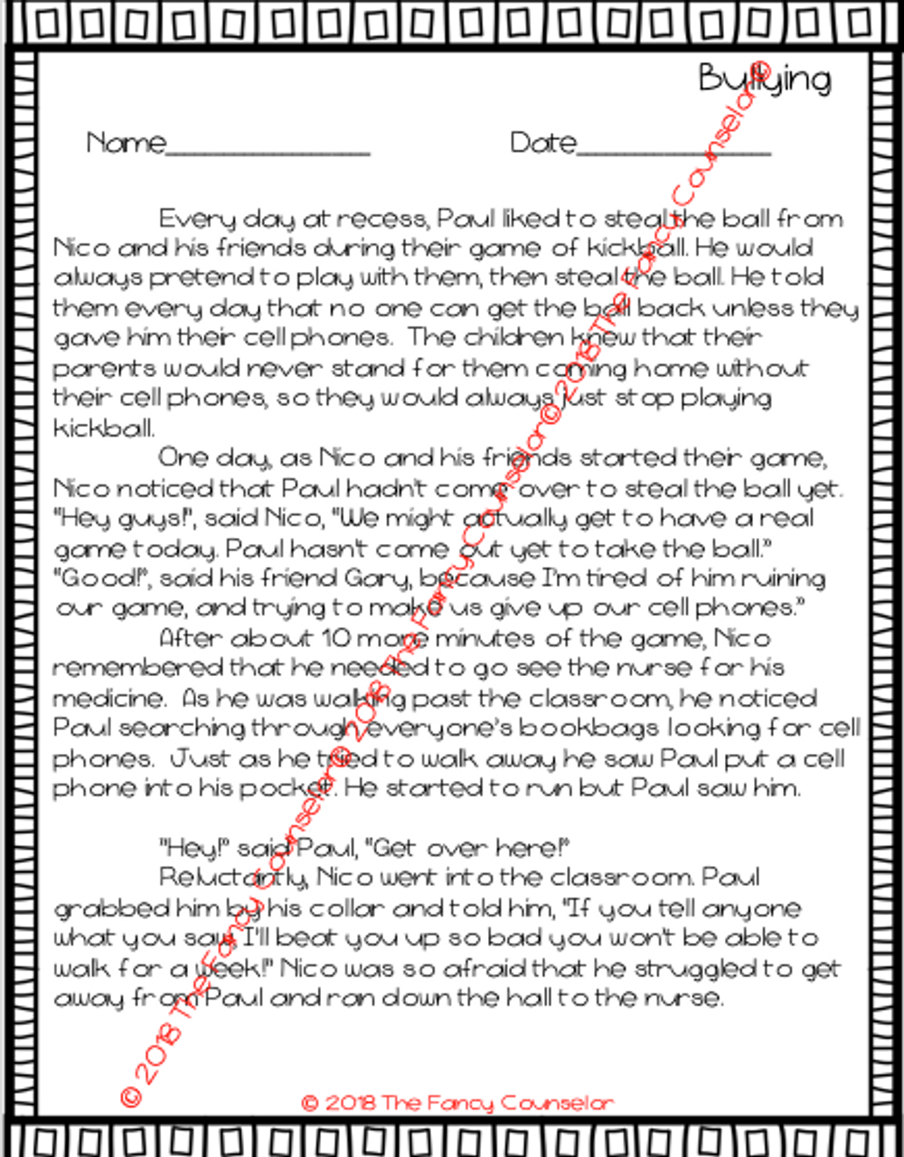 Bully Beans by Julia Cook Story extension activity Bullying