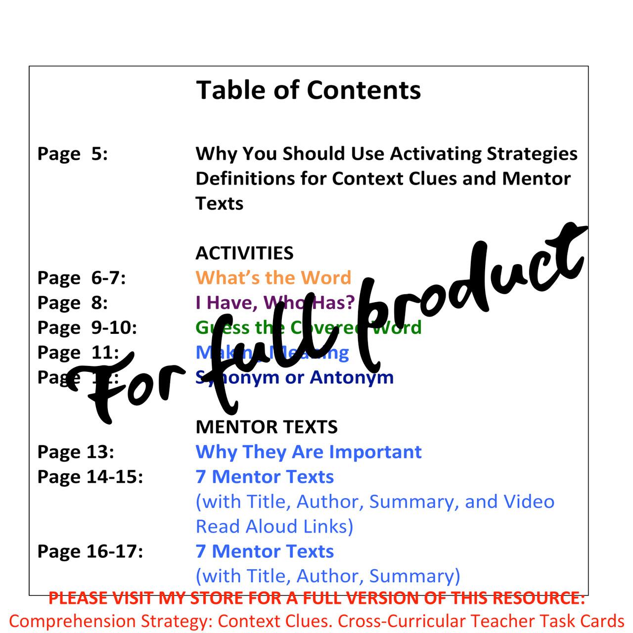 Comprehension Strategy: Context Clues: Cross-Curricular: Teacher Task Cards FREE