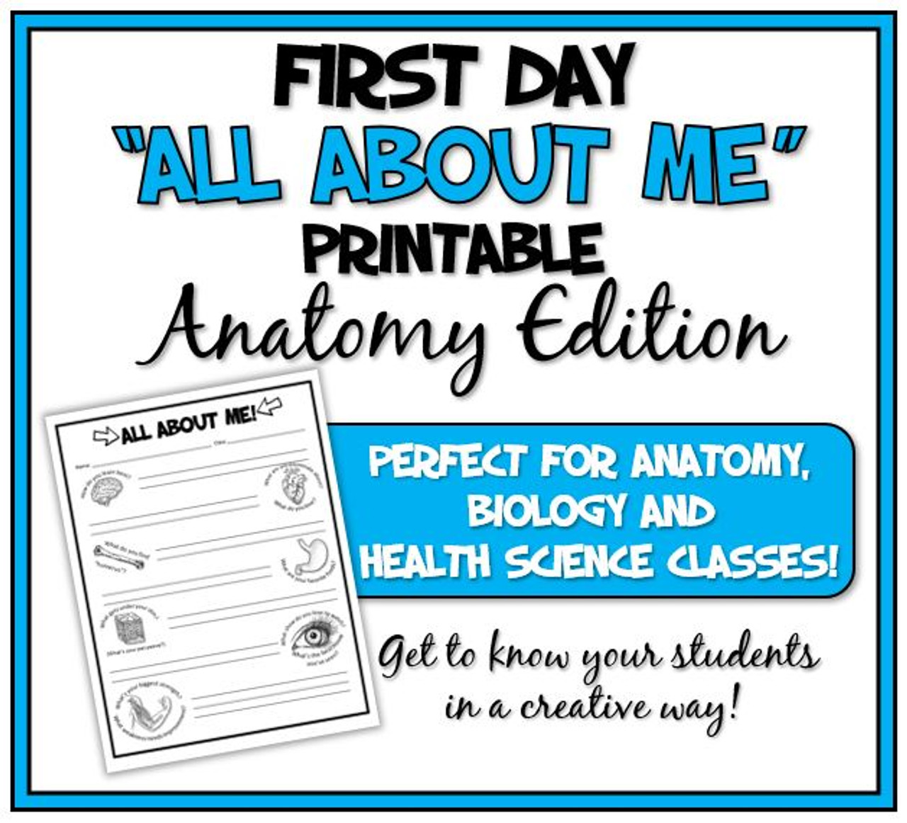 """First Day """"All About Me: Anatomy Edition"""" Printable and Distance Learning Options!"""