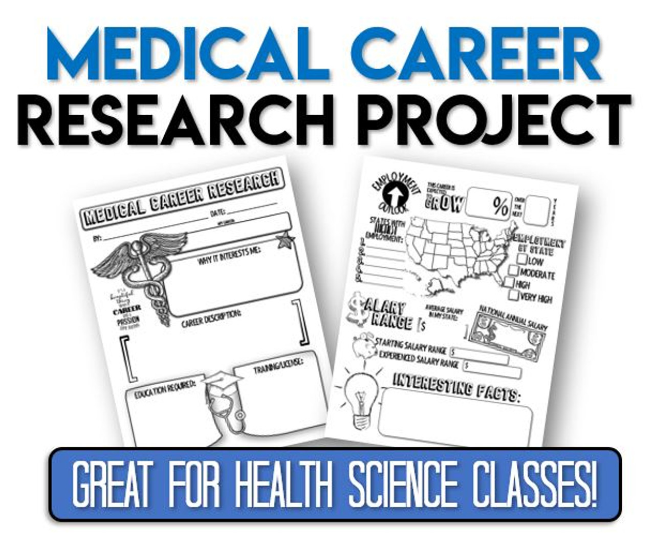 Medical Career Research Project- Great for Health Science Classes! Distance Learning Option!