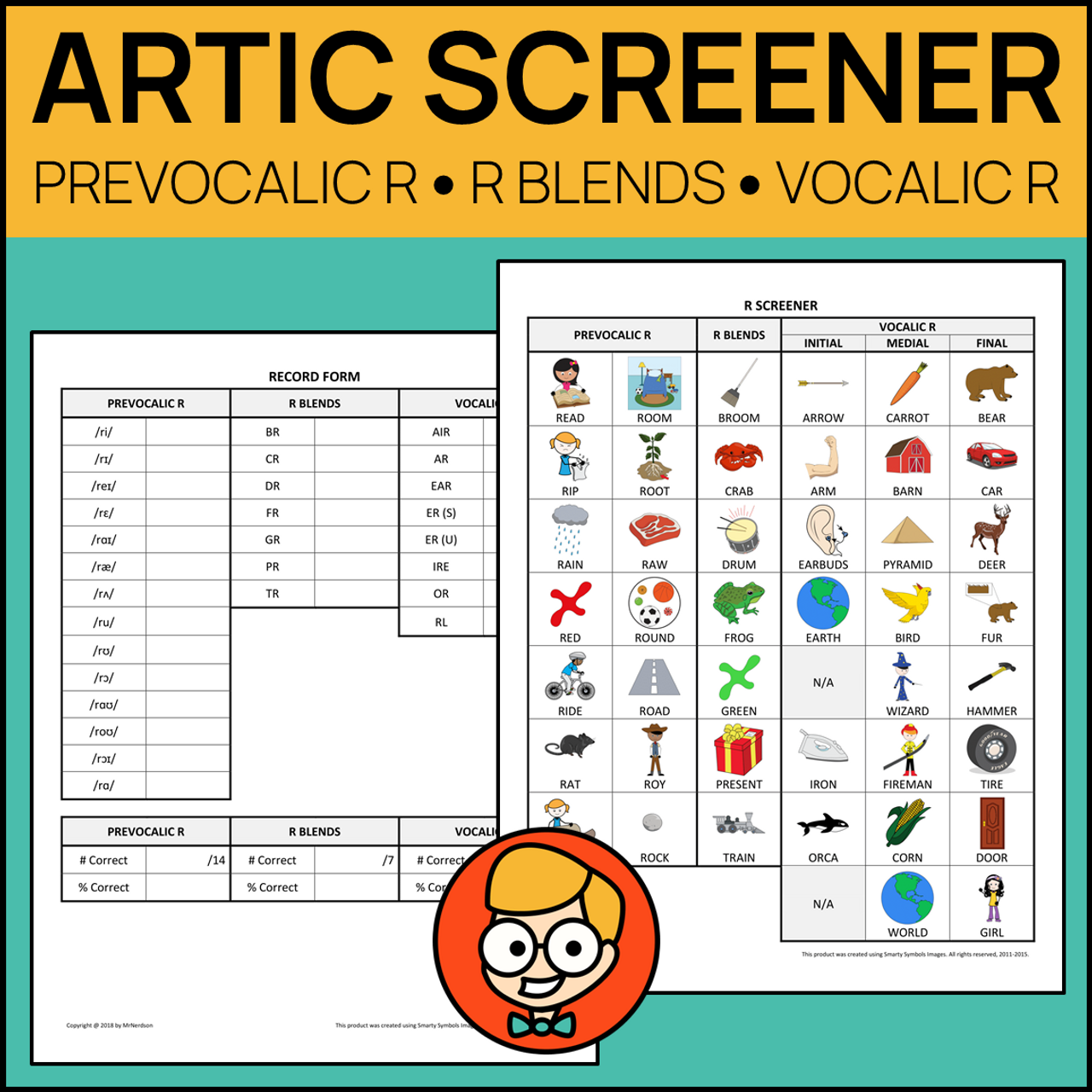 Comprehensive Articulation Screener for R: Prevocalic, Blends, Vocalic