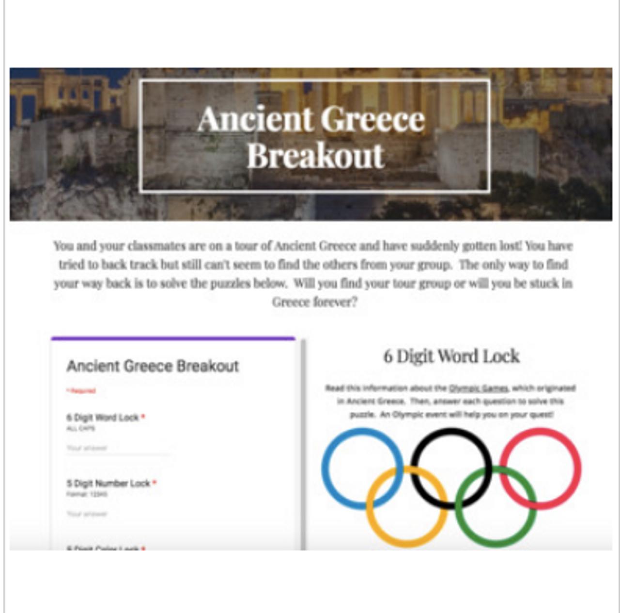 Ancient Greece Digital Breakout / Escape Room