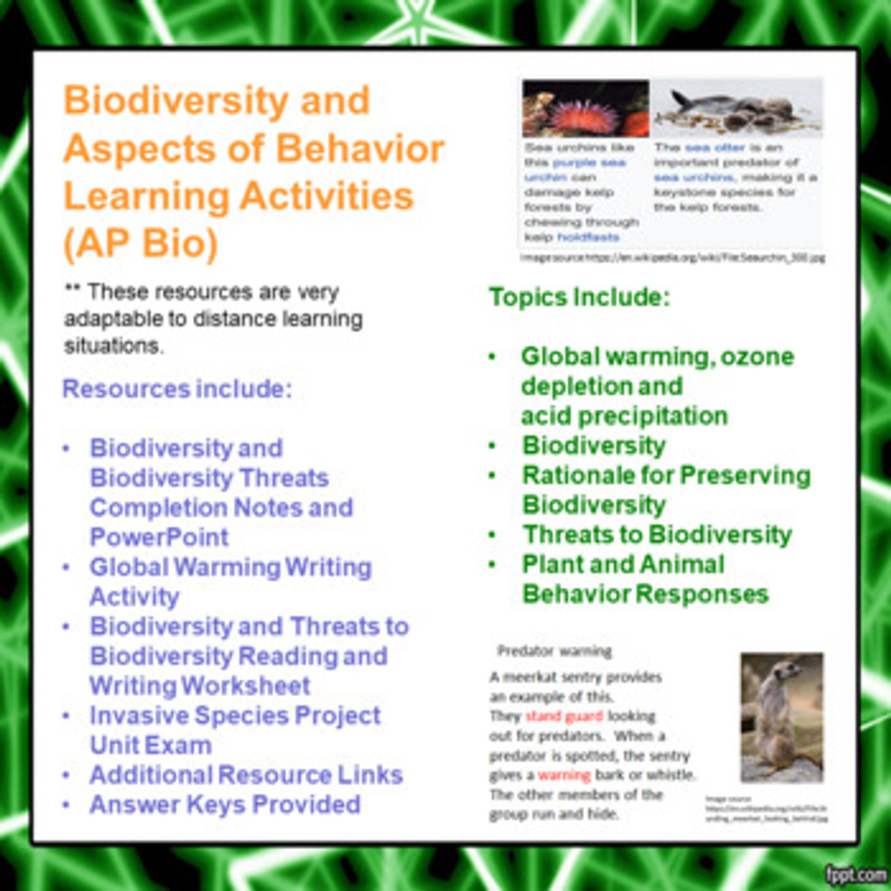 Biodiversity and Aspects of Behavior Learning Activities for AP Biology (Distance Learning)