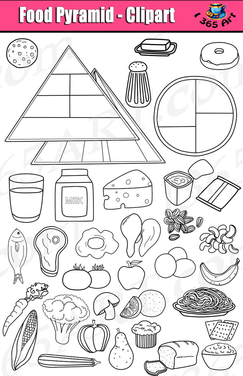 Food pyramid clipart files in black and white