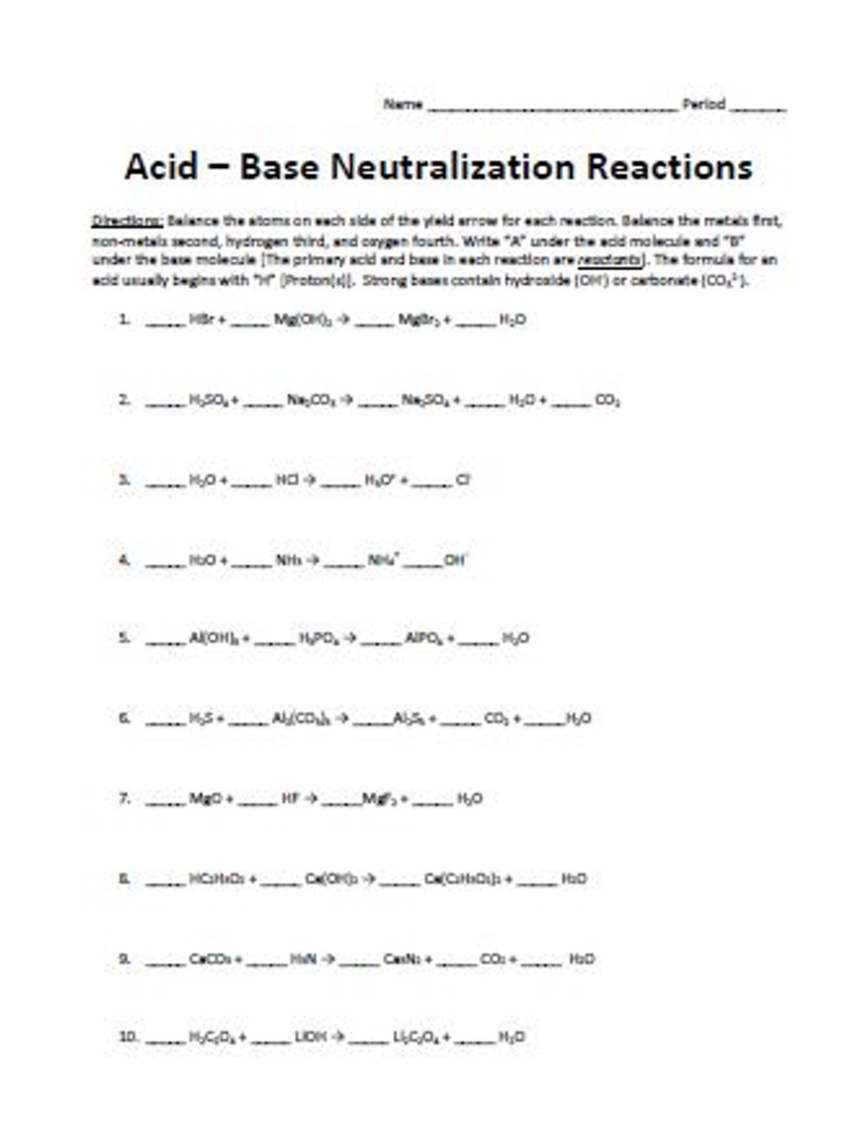 Acids & Bases Classification and Reactions Balancing Activity Set