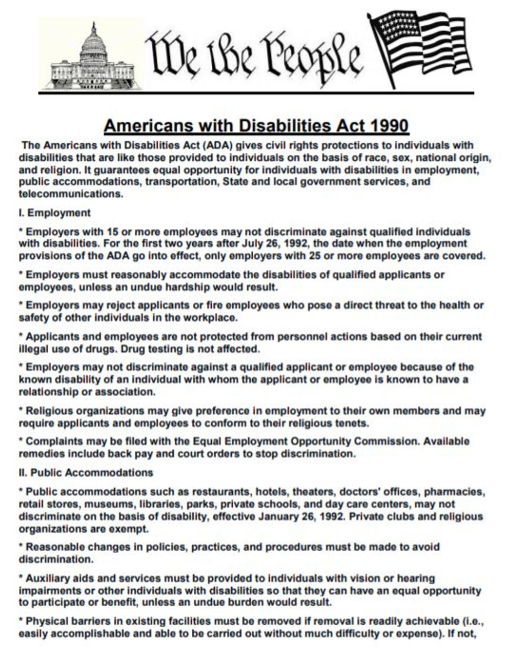 Americans with Disabilities Act Article and Writing Assignment