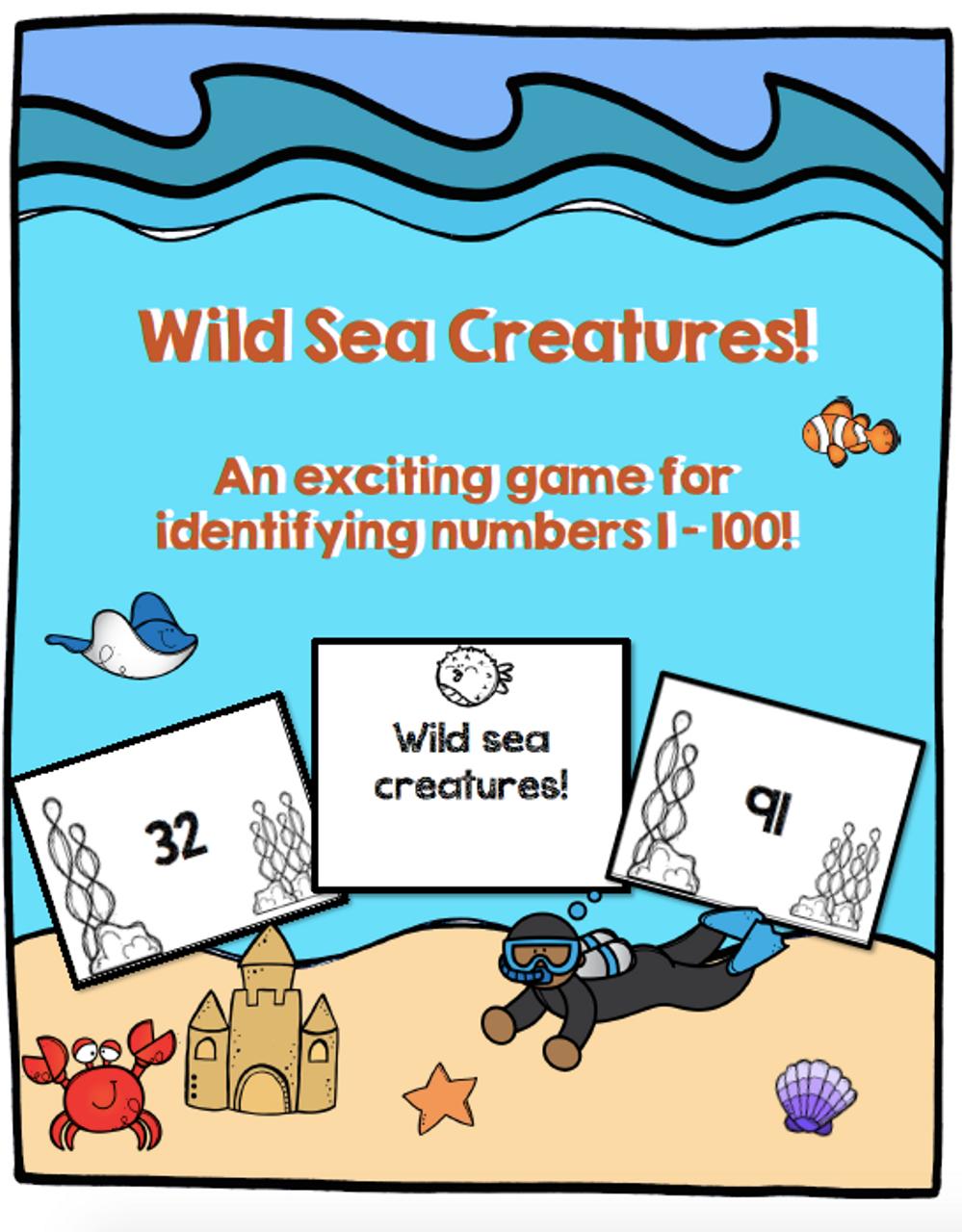 "Identification Game Numbers 1 - 100 ""Wild Sea Creatures"""