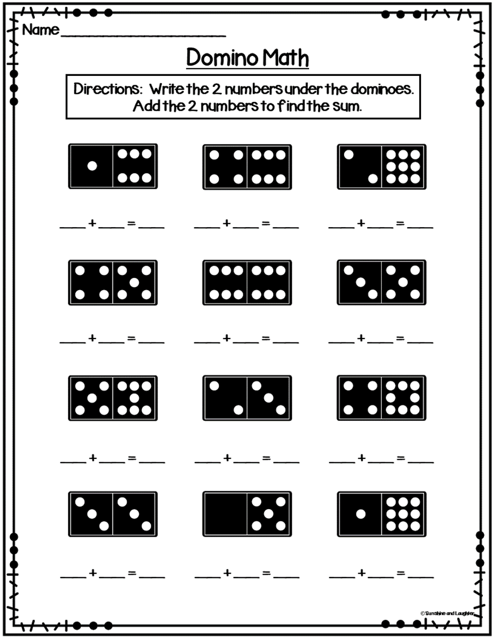 Domino Math Task Cards (Addition to 12)