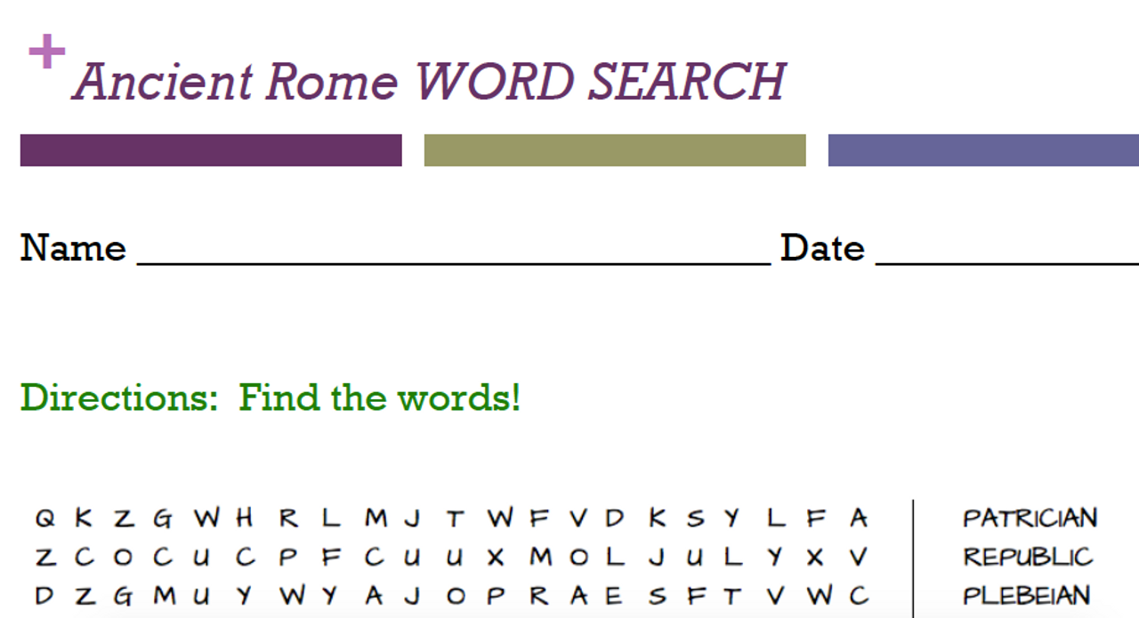 Ancient Civilizations Word Searches!!!