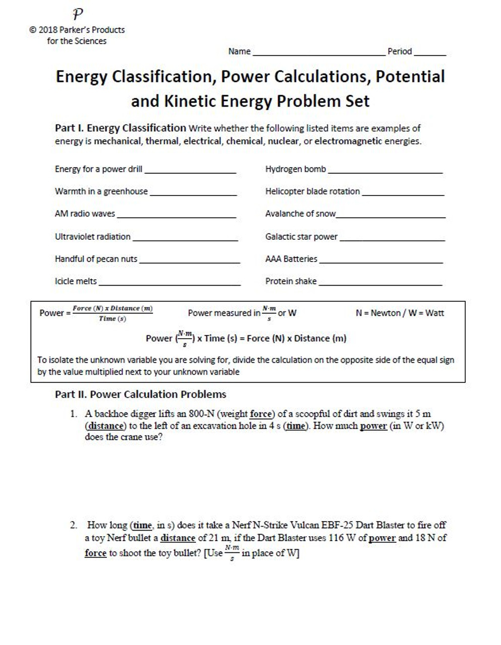 Energy and Power Unit Study Guide (Energy Classification and Power, Potential and Kinetic Energy Problems)