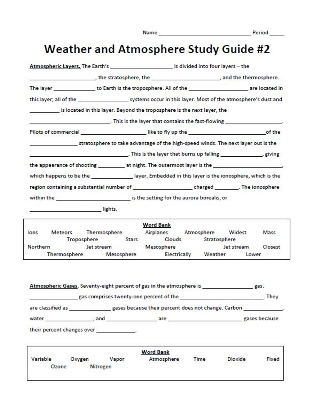 Weather and Atmosphere Study Guide #2 with a Key