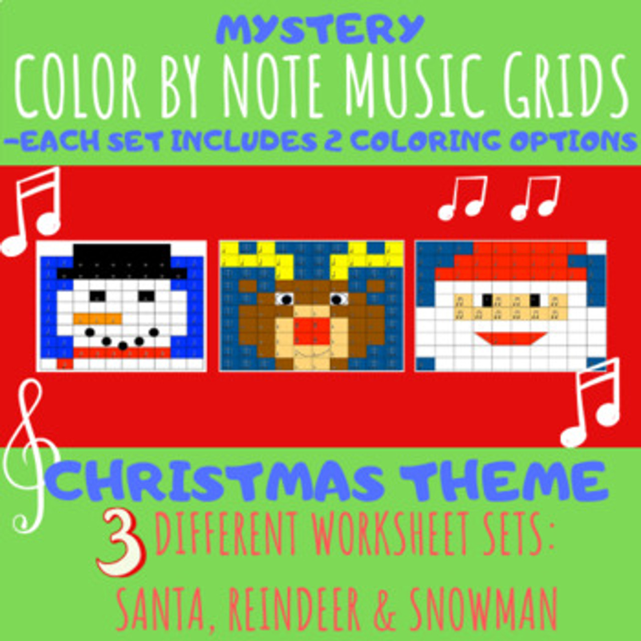 Color by Note Music Grids: Christmas