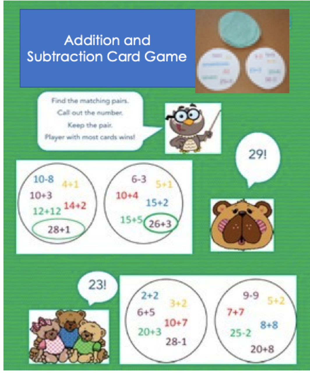 Addition and Subtraction Card Game