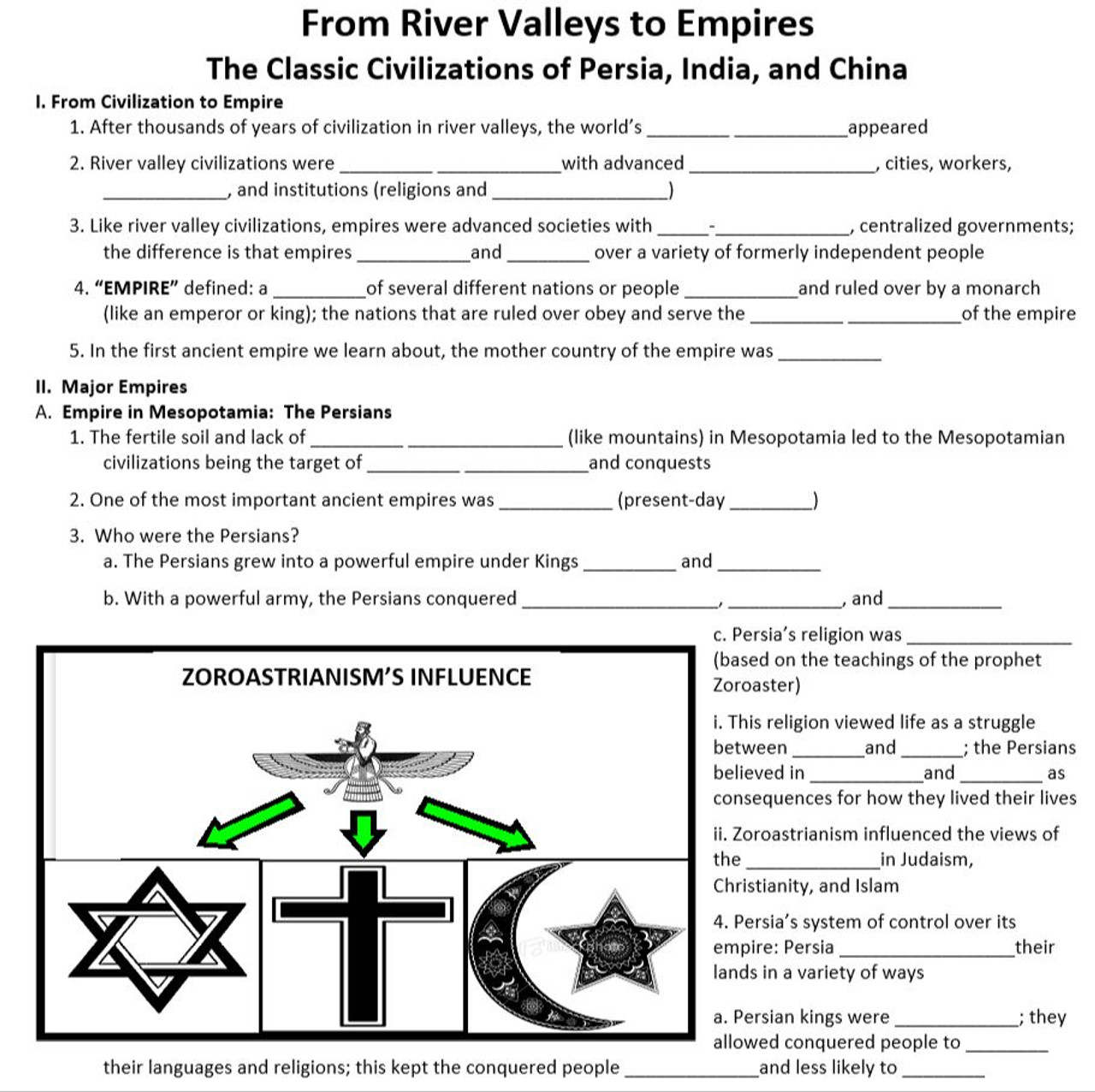 Civilizations to Empires PPT and Guided Notes
