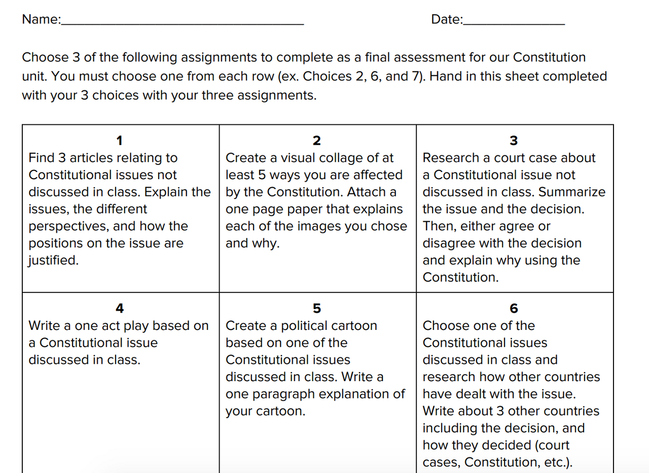 Constitution Choiceboard