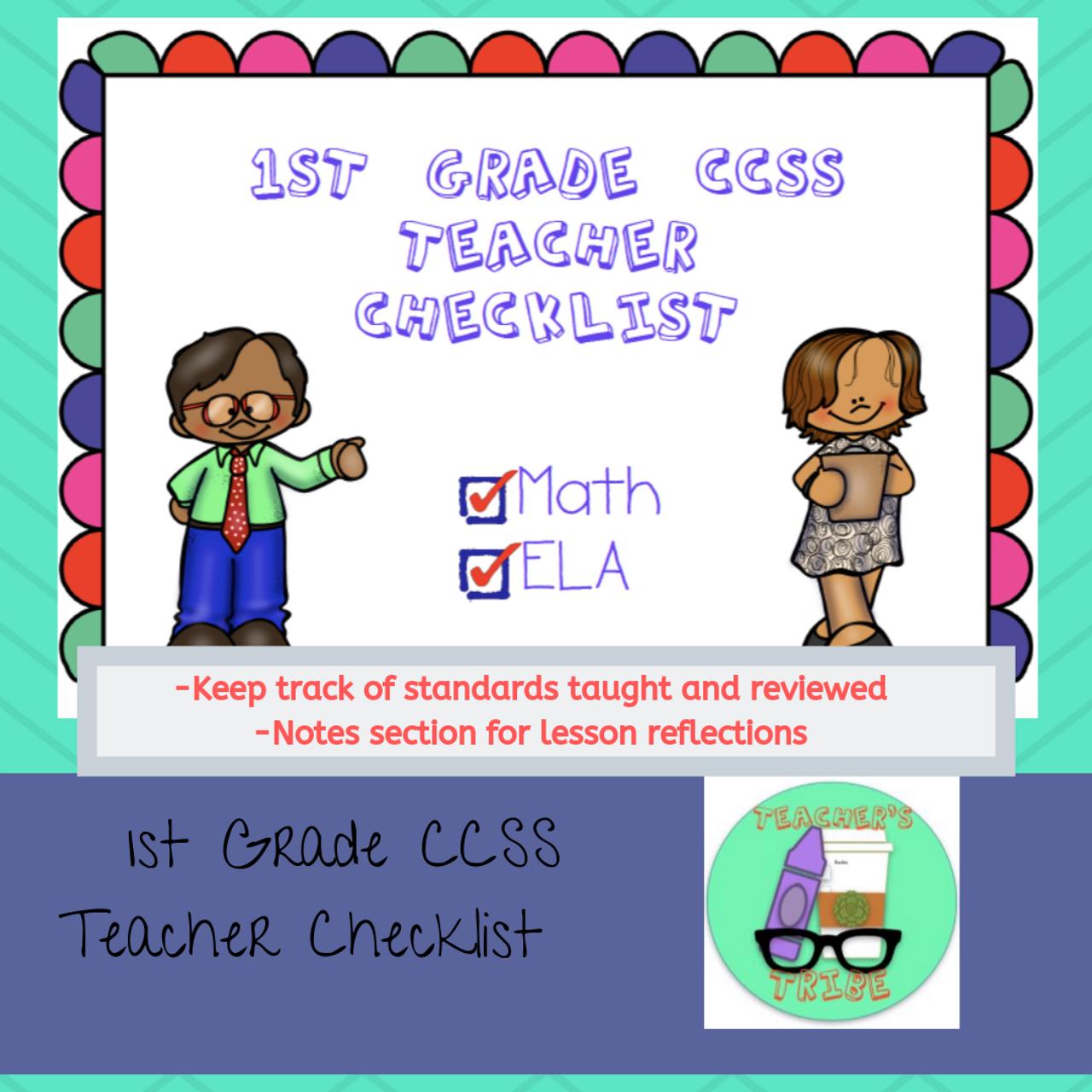 CCSS 1st Grade Standards Teacher Checklist
