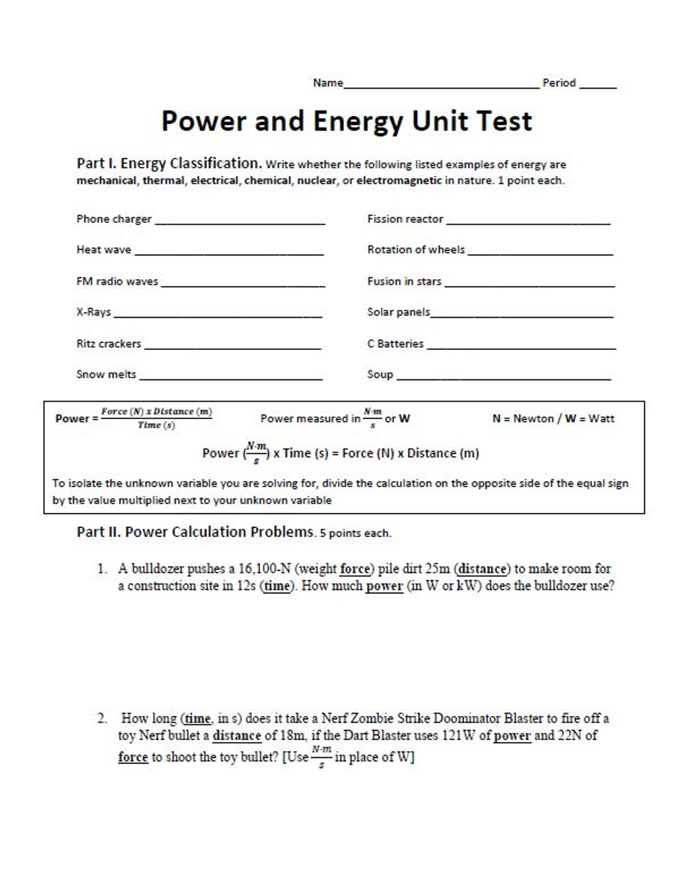 Power and Energy Unit Test (Energy Classification, Power Problems, Kinetic and Potential Energy Problems)