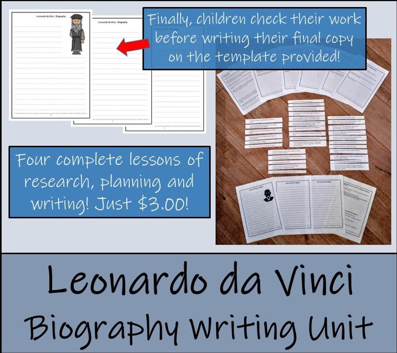 Leonardo da Vinci - 5th & 6th Grade Biography Writing Activity