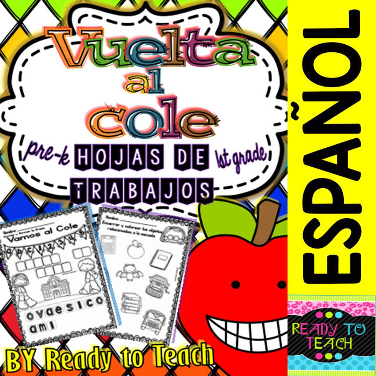 Spanish No Prep Printables - Back to School - Maths and Language - K/1st