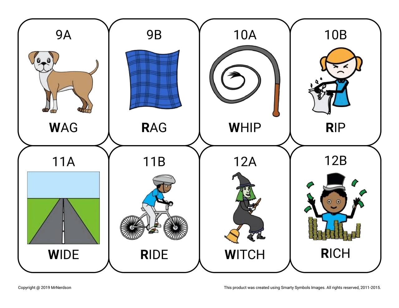 W-R & W-L Minimal Pair Cards