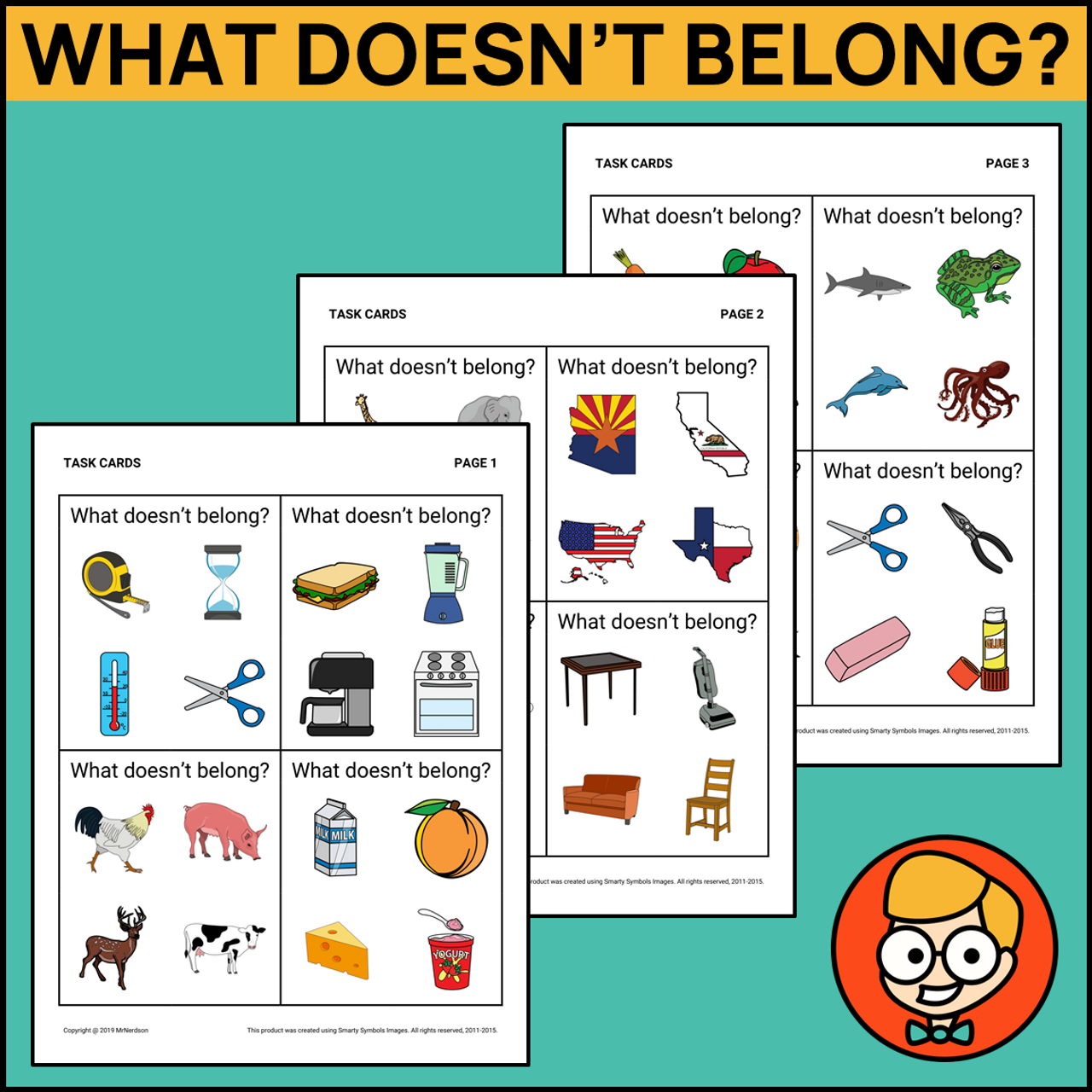 What Doesn't Belong Task Cards - Level 2
