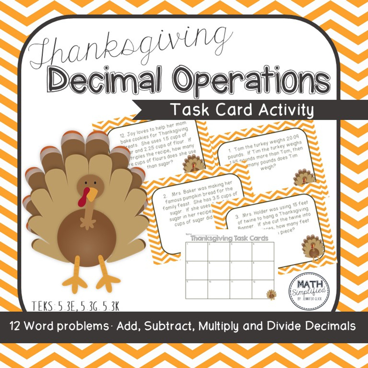 Thanksgiving Decimal Mixed Operation Task Cards