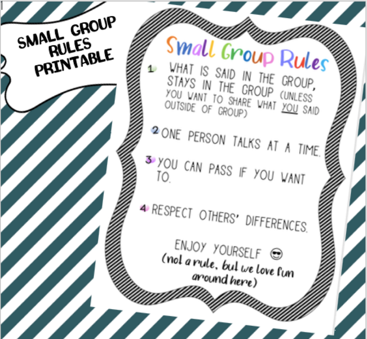 Small Group Counseling Rules Poster