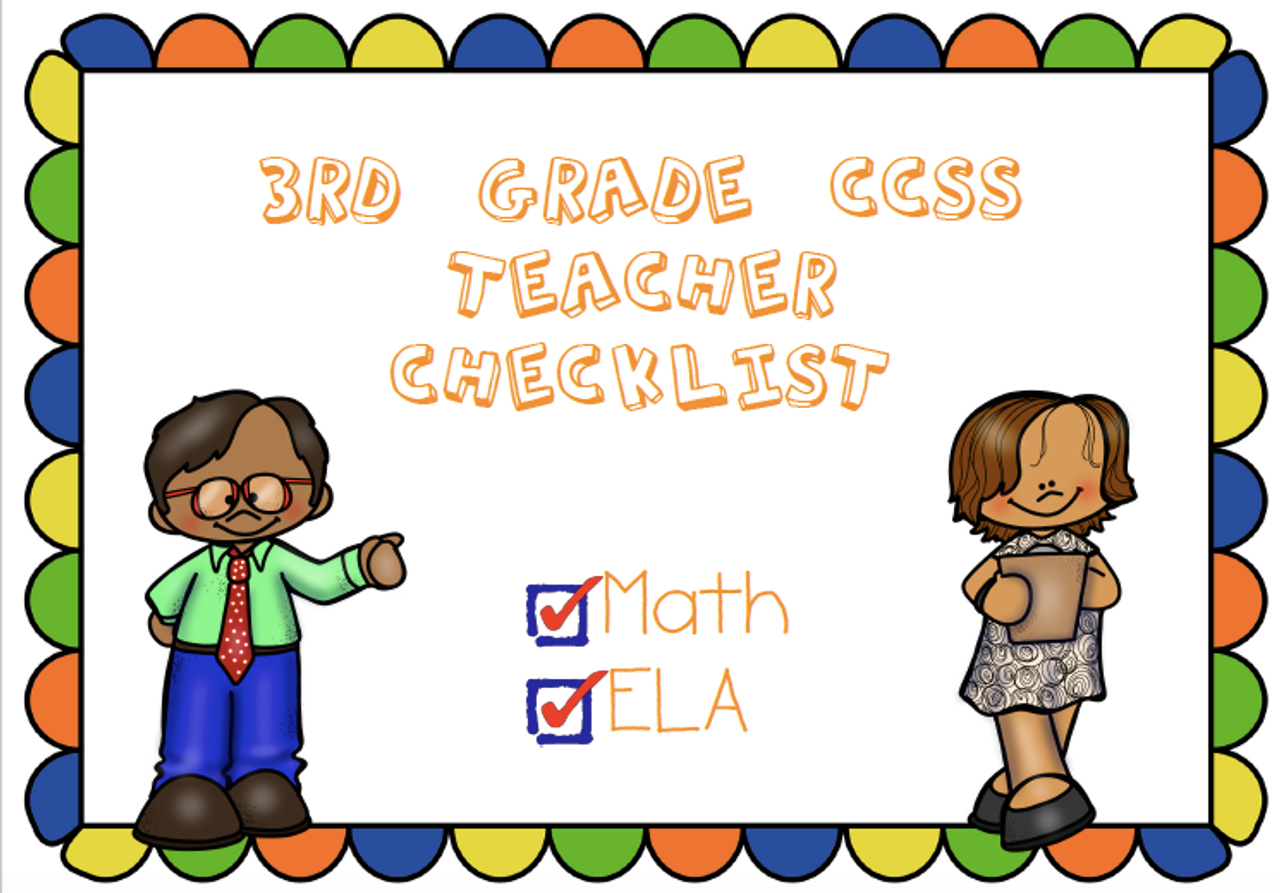 CCSS 3rd Grade Standards Teacher Checklist