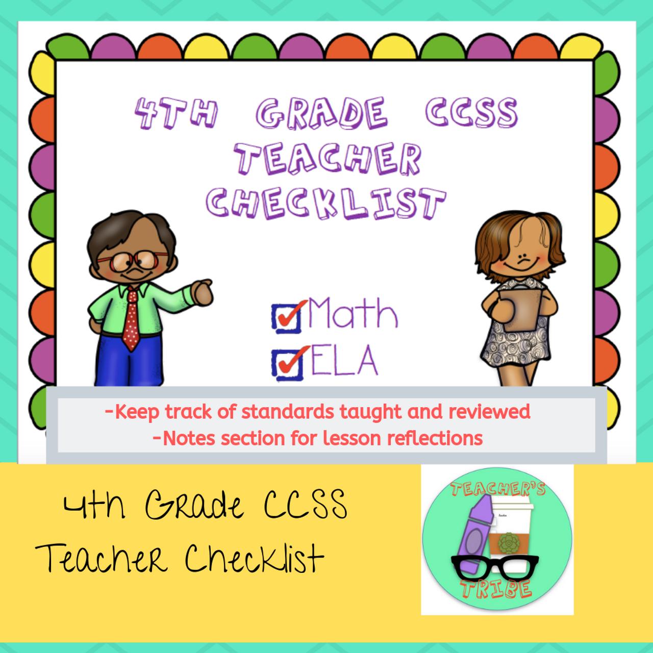 CCSS 4th Grade Standards Teacher Checklist