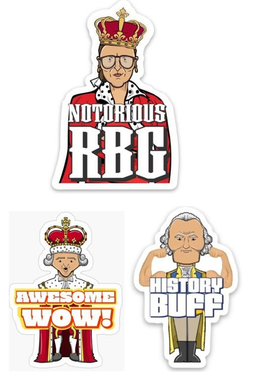 "History Sticker Bundle - ""History Buff"", ""Notorious RBG"", ""Awesome WOW"""