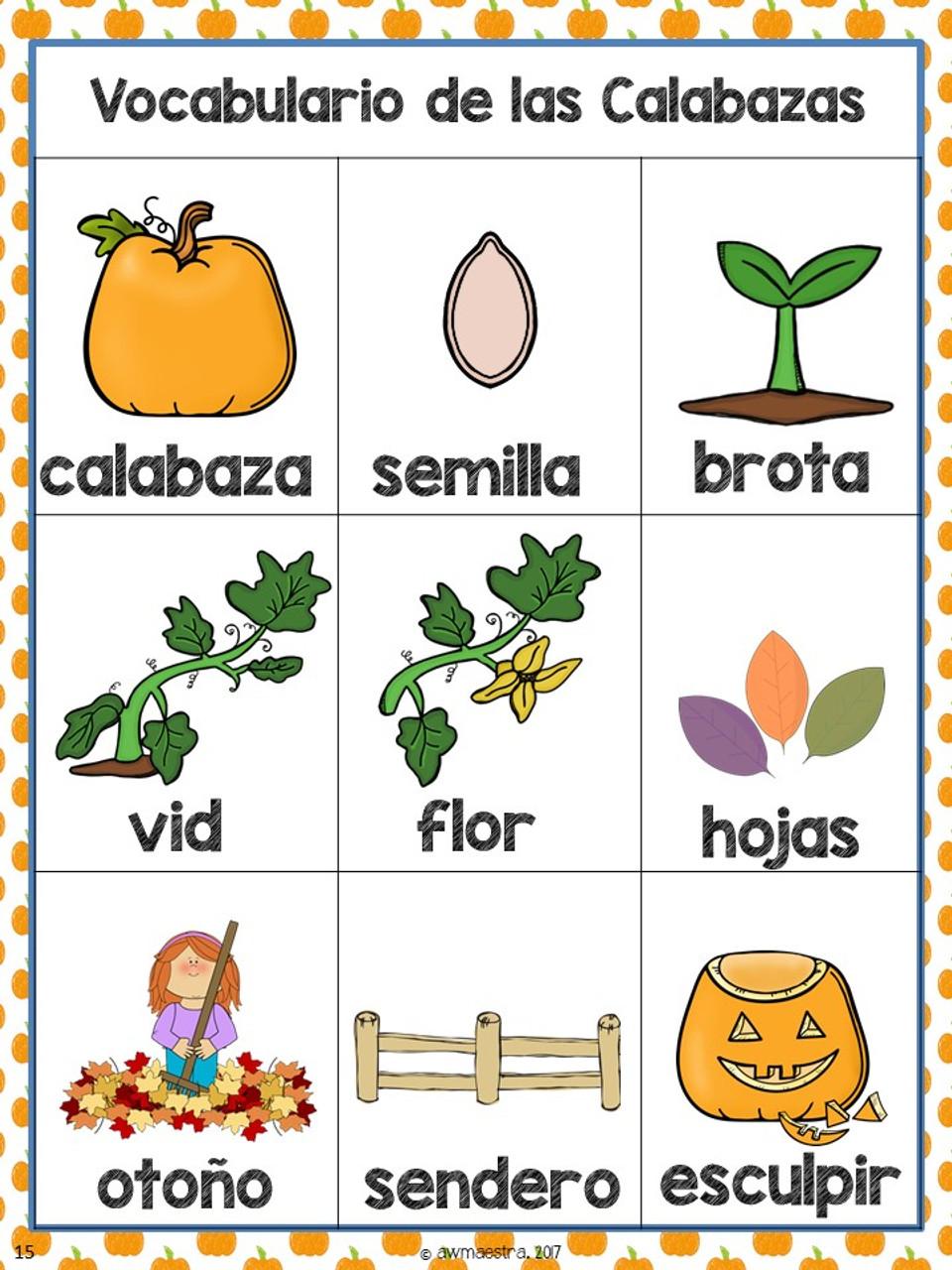 Pumpkins Thematic Unit & Lesson Plans Pre-K, Spanish English Bilingual