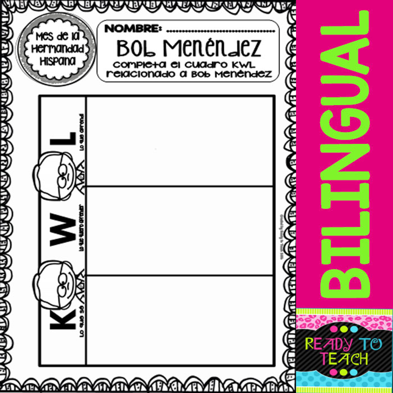 Hispanic Heritage Month - Bob Menendez - Worksheets and Readings (Bilingual)