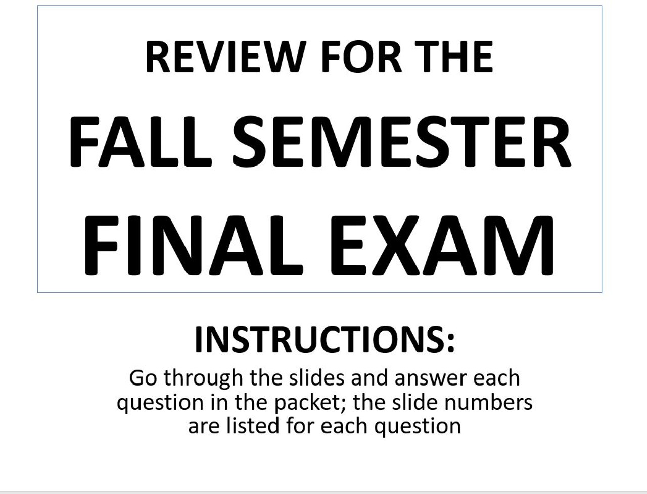 World History Fall Semester Final Exam Review (through