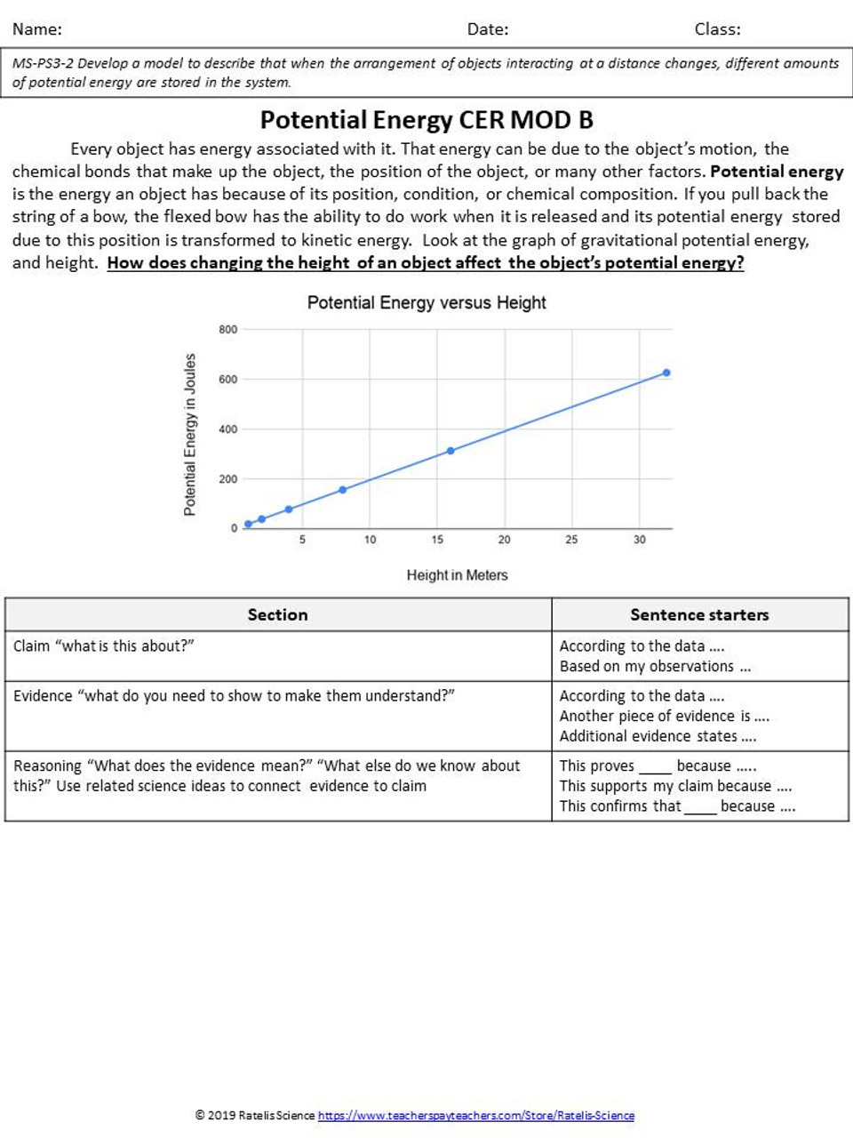 CER for NGSS Kinetic and Potential Energy
