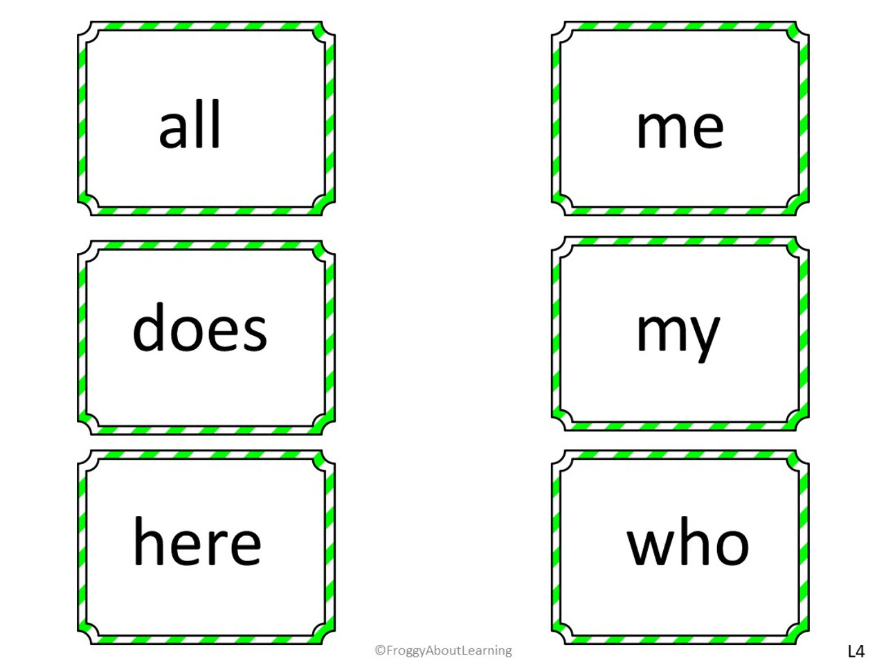 The sight words flash cards are grouped by colored frames .