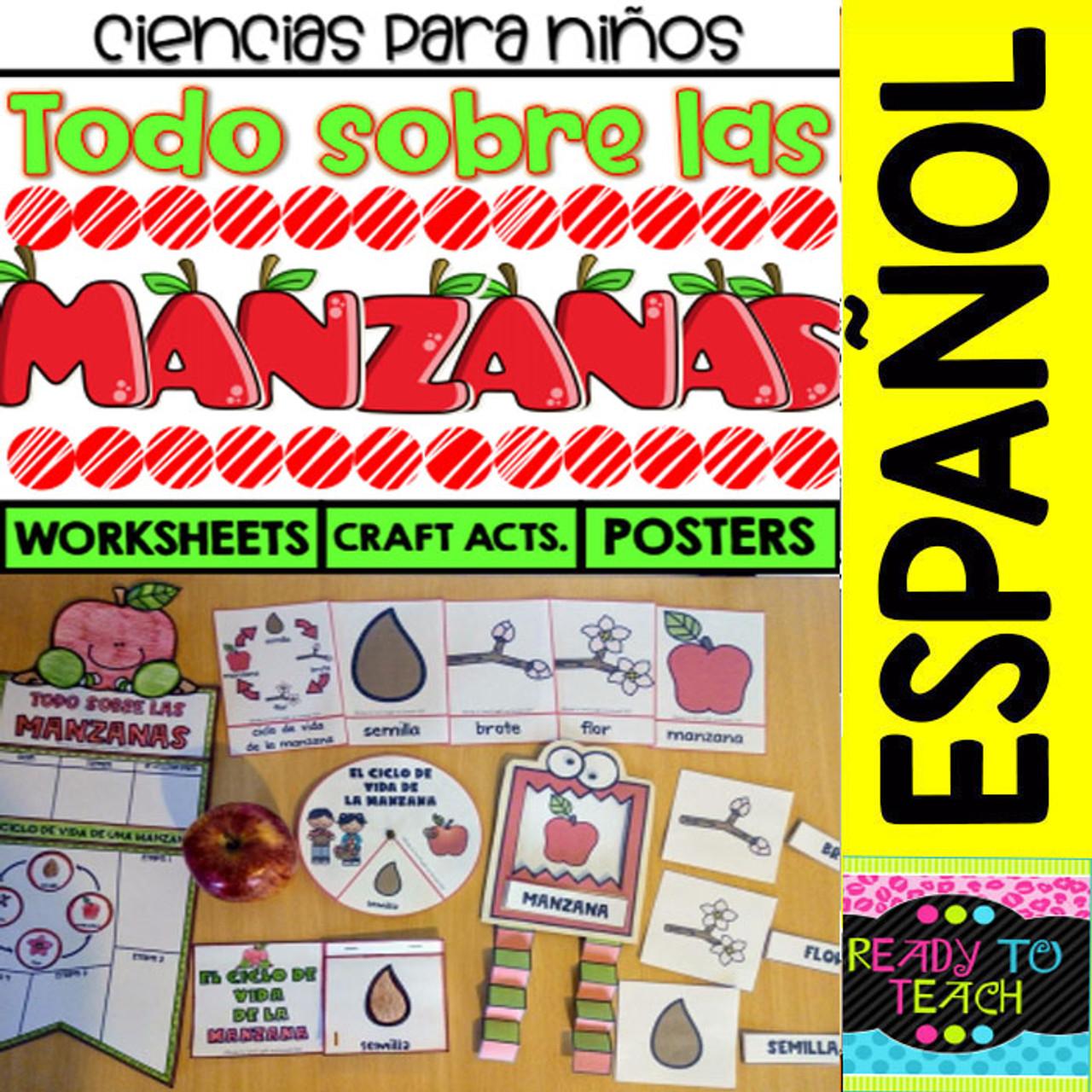 Todo sobre Las Manzanas - Ciencias para Niños - Worksheets/Crafts/Posters