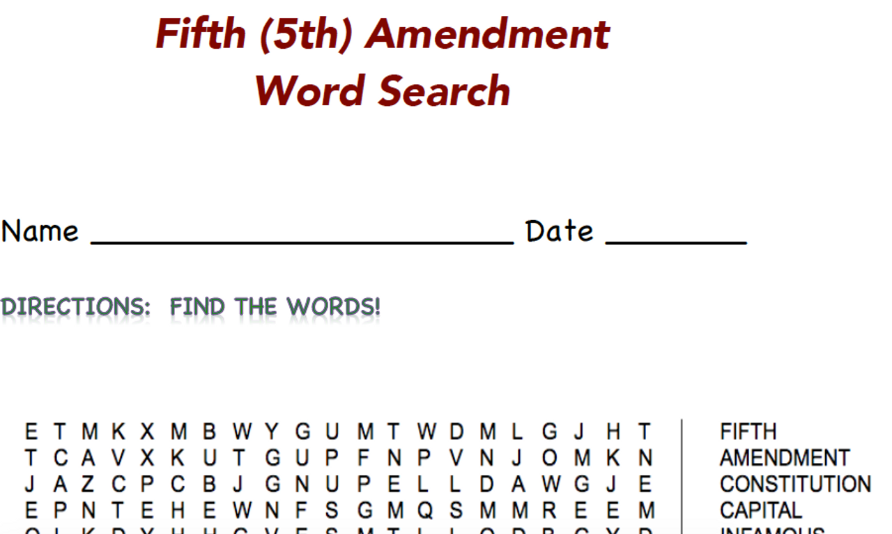 Bill or Rights Word Searches (all 10!)