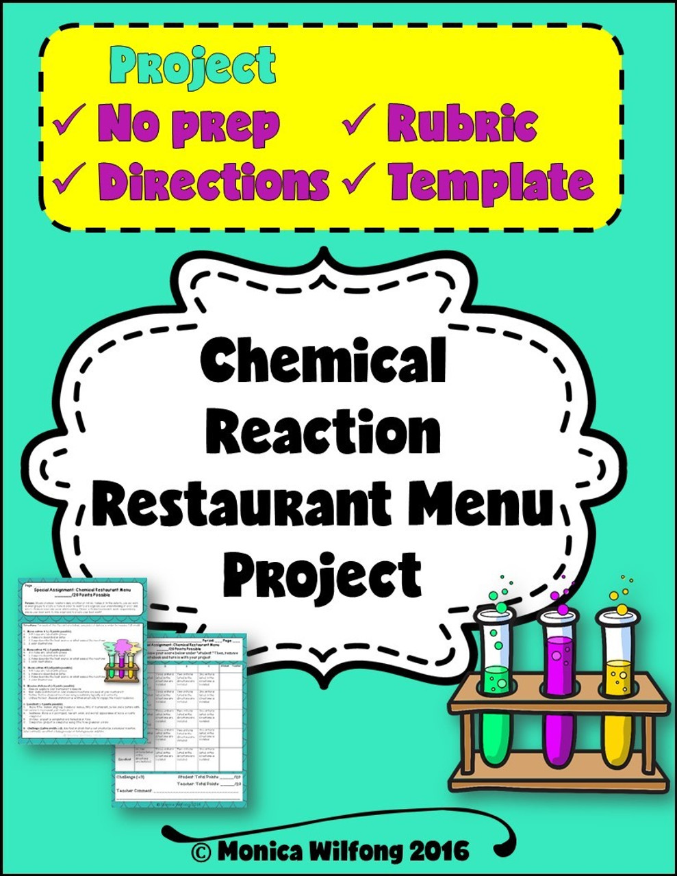 Chemical Reactions Project- Restaurant Menu Themed/Holiday Matter Activity
